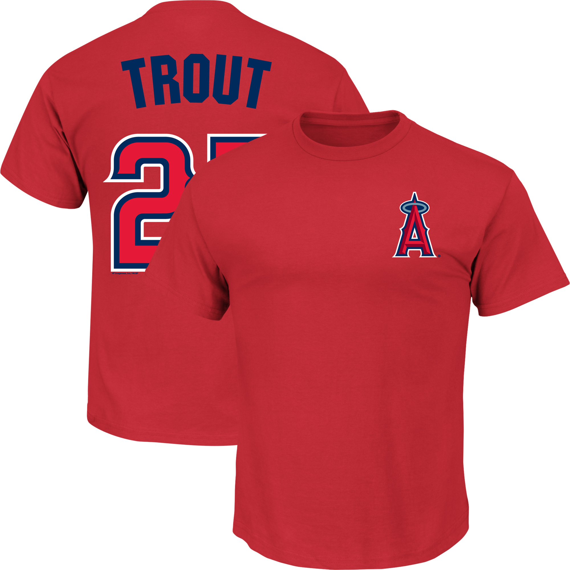 Men's Majestic Mike Trout Red Los Angeles Angels Name & Number T-Shirt