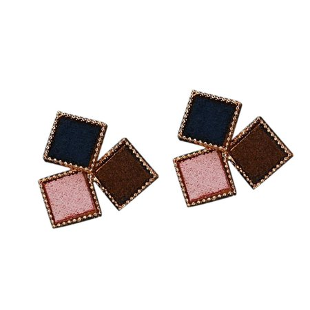 babydream1 Splicing Color Women Girl Geometric Shaped Earrings Ear Studs Metal Plating Earrings Personality Jewerly - image 1 of 5
