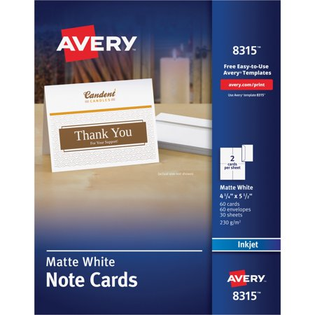Avery Note Cards for Inkjet Printers, 4 1/4 x 5 1/2, Matte White, 60/Pack w/Envelopes