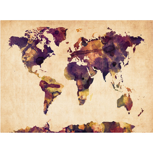 Trademark Art 'Watercolor Map 2' Canvas Art by Michael Tompsett