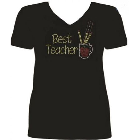 Bling Best Teacher Rhinestone Ladies T Shirt sv (Bad Teacher Best Scenes)