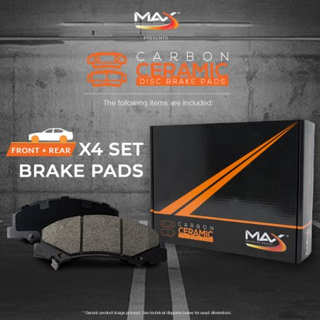 Max Brakes Front & Rear Carbon Ceramic Performance Disc Brake Pads KT108753 | Fits: 2014 14 2015 15 Mitsubishi Lancer ES/SE With Rear Disc Brakes - image 6 de 6