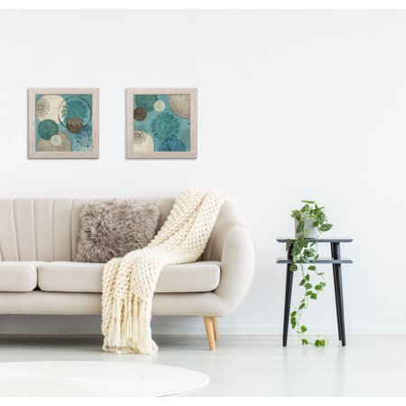 Gango Home Decor Abstract Circle Patterned Wall Art ; Two Blue 12x12in Art Prints in Distressed White Frames ()