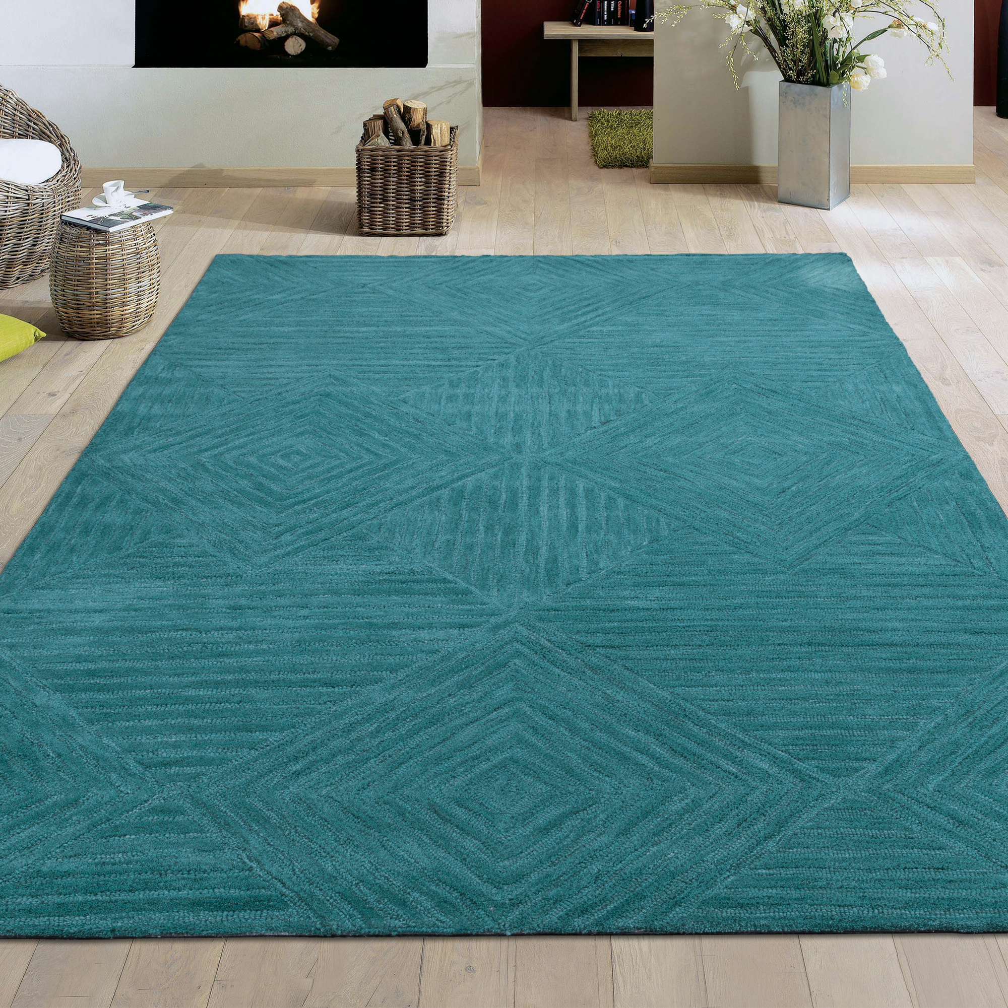 Ottomanson Hand-Tufted Hampton Collection Natural Wool Geometric Diamond Mosaic Rug, Teal, 5' X 7'