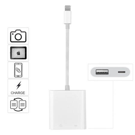 huge selection of 7cdfb 66040 ALLCACA Lightning Splitter Adapter OTG Adapter Cable USB Camera Adapter for  iPhone X, 8, 8 Plus, iPad and iOS 11, White