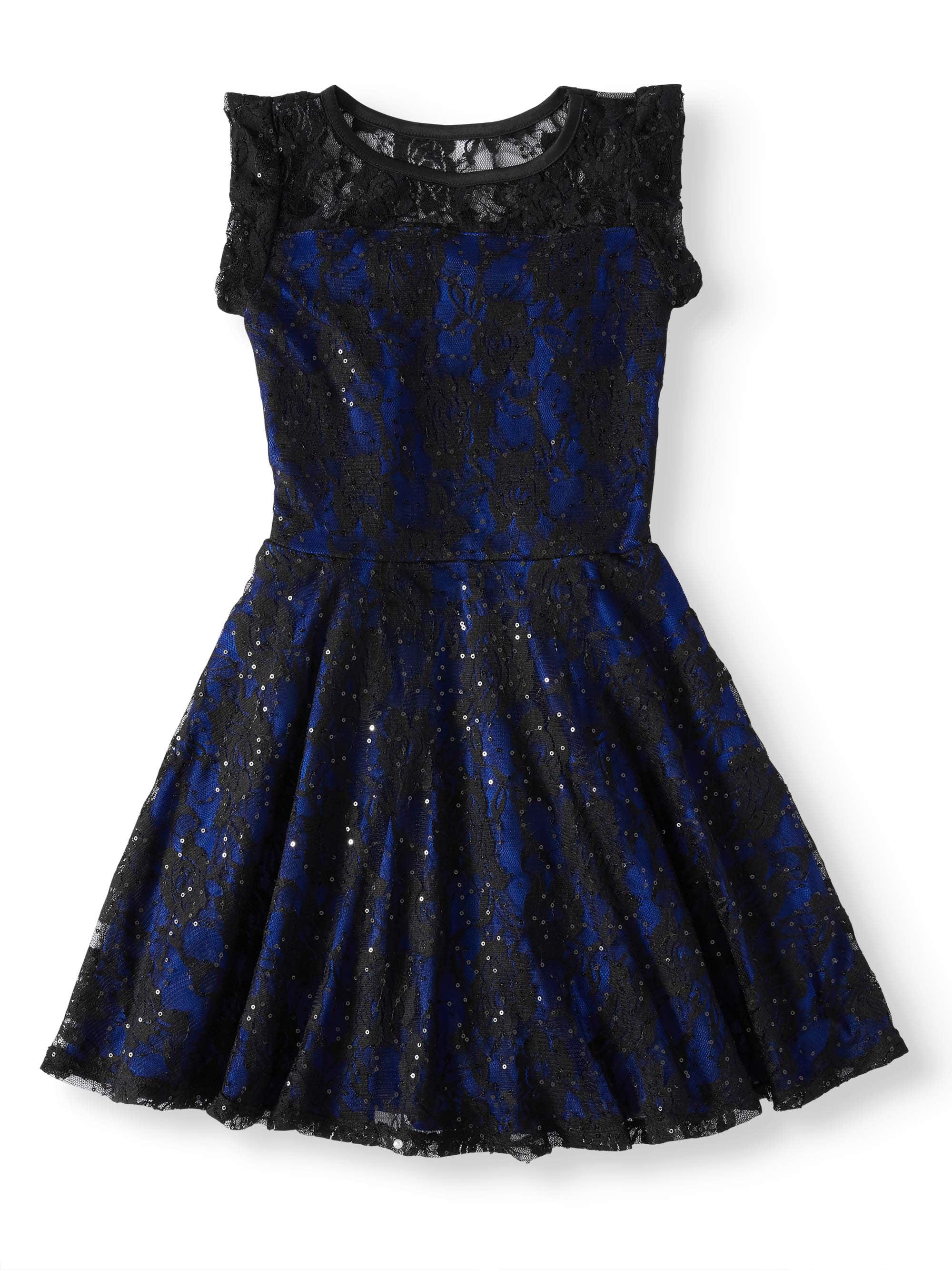Btween Lace Cap Sleeve Holiday Dress (Big Girls)