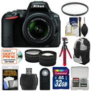 Nikon D5500 Wi-Fi Digital SLR Camera & 18-55mm VR DX II Lens (Black) - Factory Refurbished with 32GB Card + Backpack + Flex Tripod + Filter + Tele/Wide Lens Kit