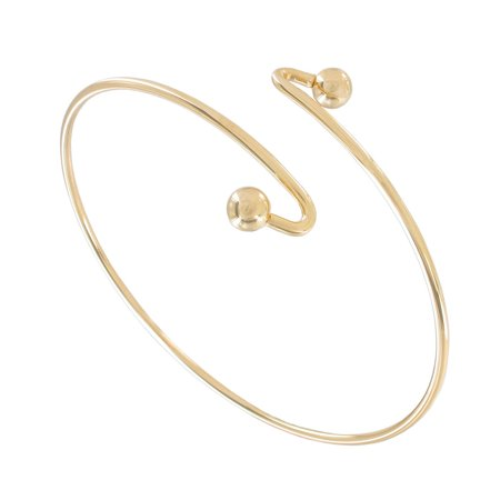 Single Spiral Gold Tone Metal Upper Arm Cuff Bracelet Ball End
