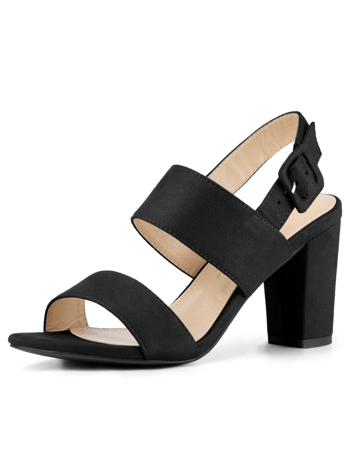 Women's Slingback High Block Heel Ankle Strap Sandals Black (Size 8)