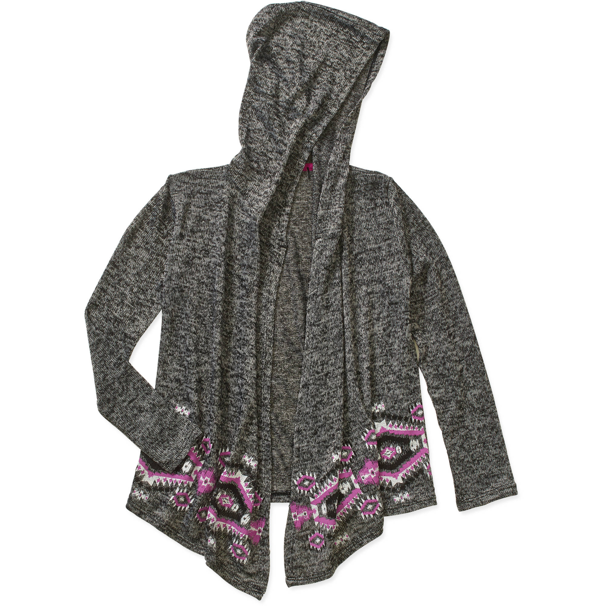 Girls' Hooded Cardigan with Border Print