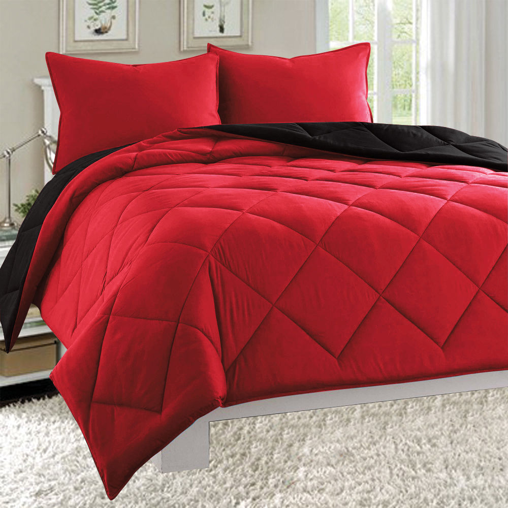 Empire 3pc Reversible Comforter Set Microfiber Quilted Bed Cover Twin - Red / Black