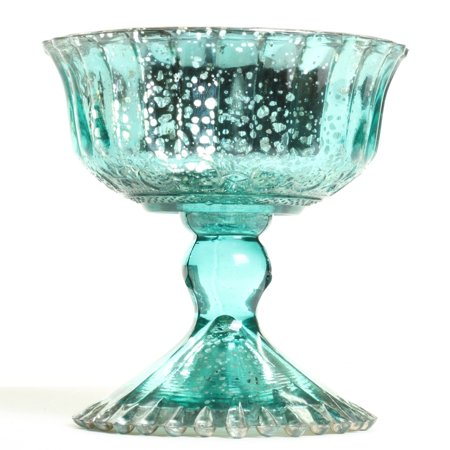 Koyal Wholesale 4.5-Inch Aqua Blue Glass Compote Bowl Pedestal Flower Bowl Centerpiece