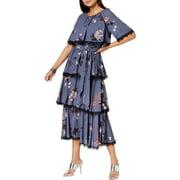 Avec Les Filles Womens Blue Floral Print Tiered Capelet Maxi Dress (8)