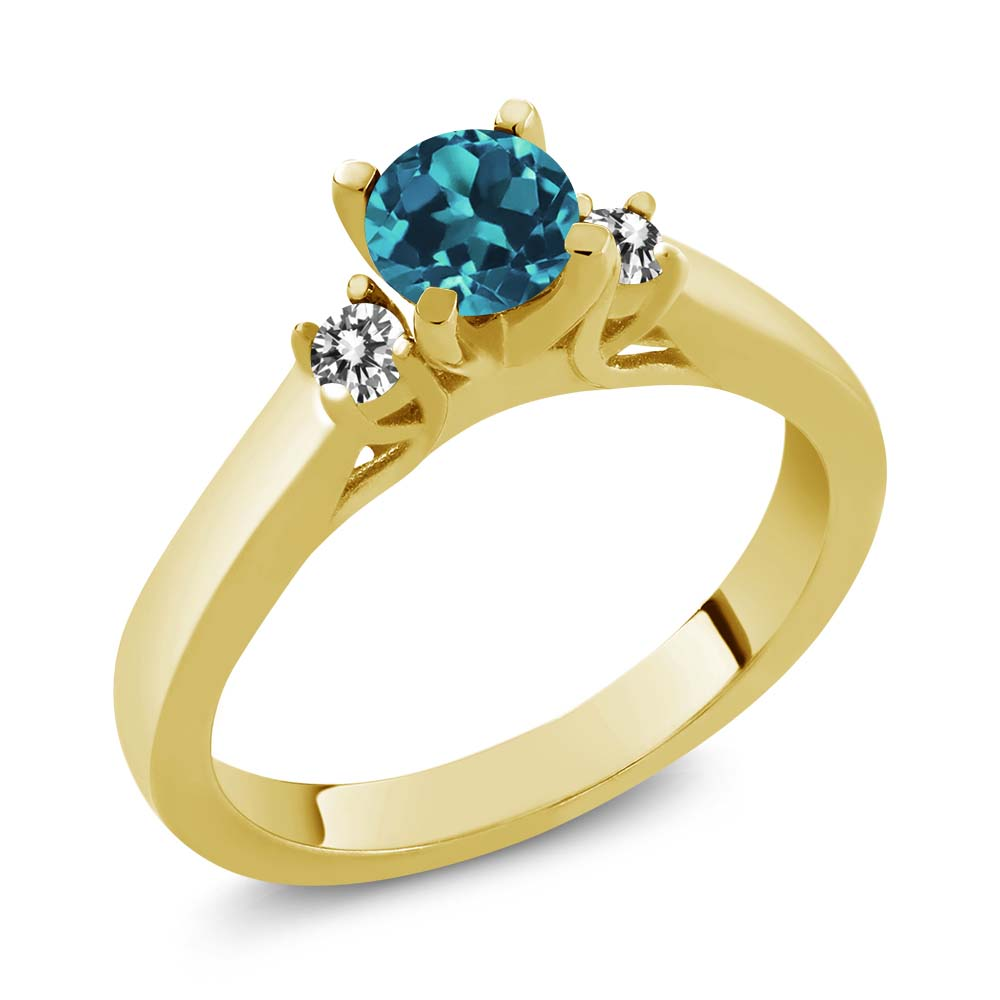 0.68 Ct London Blue Topaz White Diamond 925 Yellow Gold Plated Silver Ring