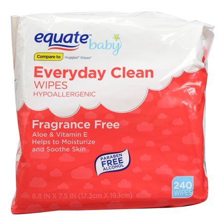 Equate Baby Everyday Clean Fragrance Free Wipes, 240 Ct