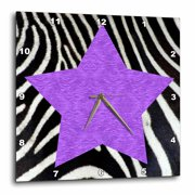 3dRose Punk Rockabilly Zebra Animal Stripe Purple Star Print - Wall Clock, 10 by 10-inch
