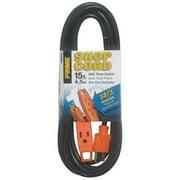 Prime EC890715 15' 14/3 SJT Black/Orange 3-Outlet Shop Extension Cord