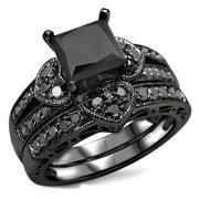 Noori Collection Noori 14k Black Rhodium-plated Gold 2 1/4ct TDW Certified Black Diamond Heart Bridal Ring Set