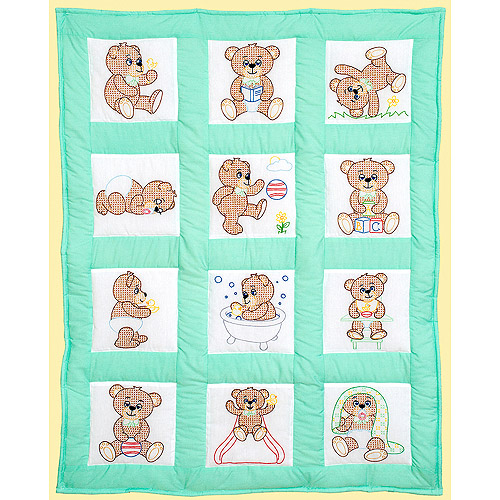 Jack Dempsey Stamped White Quilt Blocks, 9 by 9-Inch, Teddy Bears, 12-Pack Multi-Colored