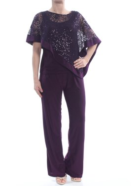 R&M RICHARDS Womens Purple Sequined  Capelet Pull On Straight leg Formal Jumpsuit Petites  Size: 4
