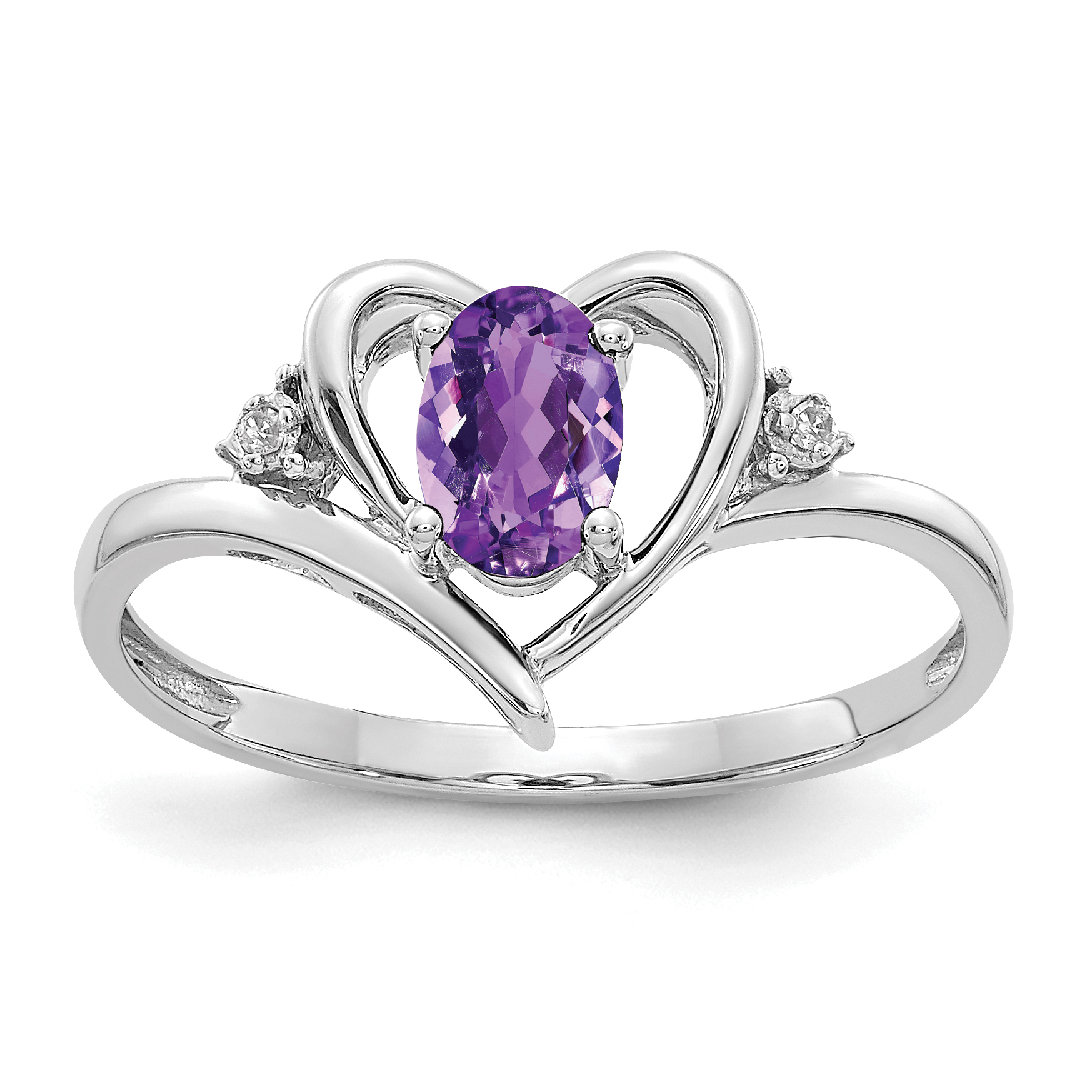 14k White Gold Amethyst Diamond Ring by CoutureJewelers