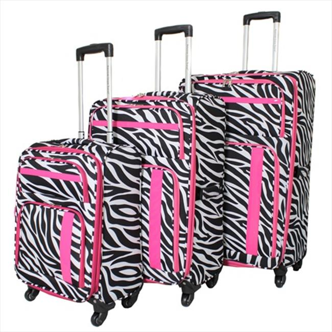 All-Seasons 86LW08-ZEB-PK American Green Travel Expandable Lightweight Spinner Luggage Set, Pink Zebra - 3 Piece