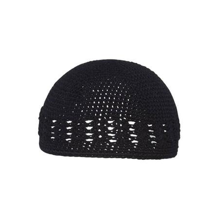 Black Crochet Knit Beanie Skull Cap (Black Knit Beanie)
