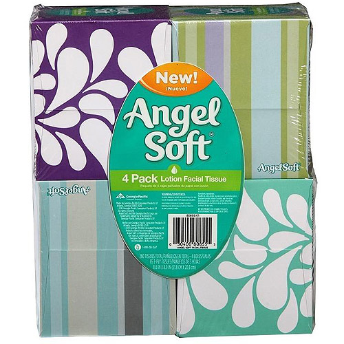 Angel Soft Lotion Facial Tissue, 4-pack