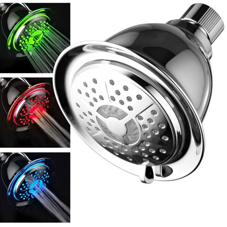 Air Shower Head - PowerSpa® High-Power All-Chrome 4-setting 7-color LED Shower Head with Air-Turbo Technology