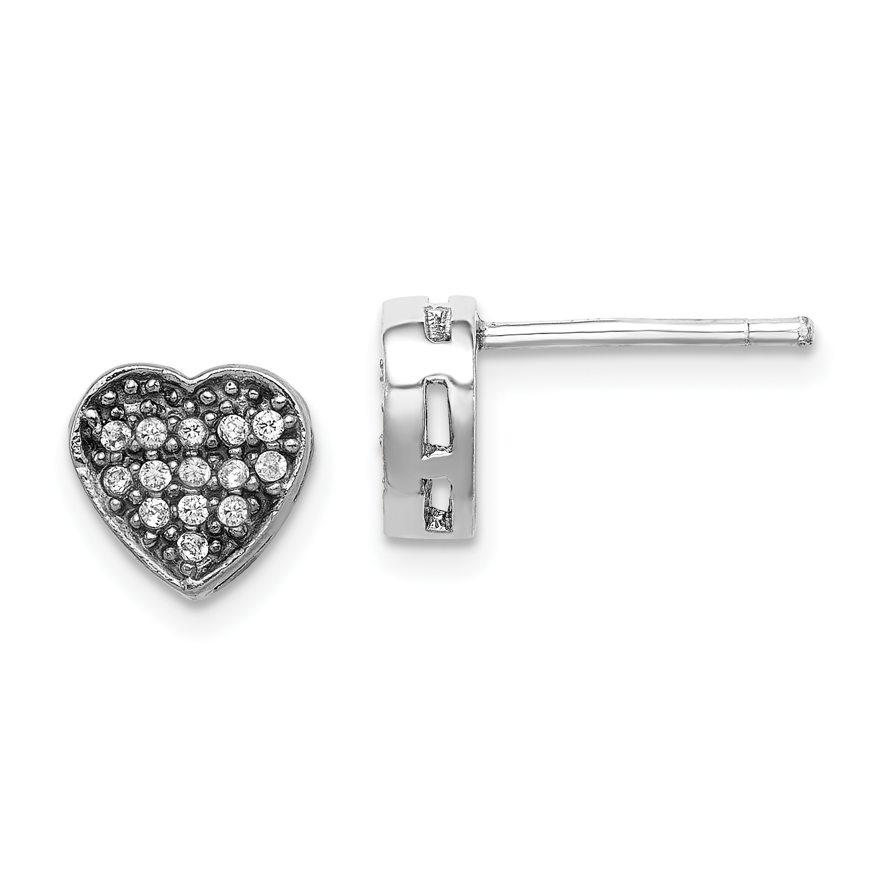 925 Sterling Silver Cubic Zirconia Cz Heart Post Stud Earrings Love Fine Jewelry Gifts For Women For Her - image 4 of 4