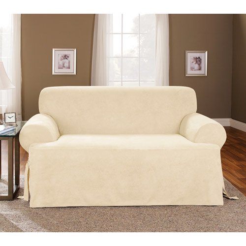 Sure Fit 1pc Soft Suede T Cushion Sofa Slipcover Cream