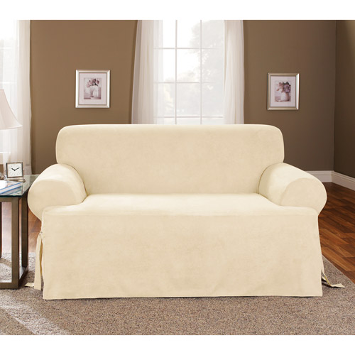 Superior Sure Fit 1pc Soft Suede T Cushion Sofa Slipcover, Cream