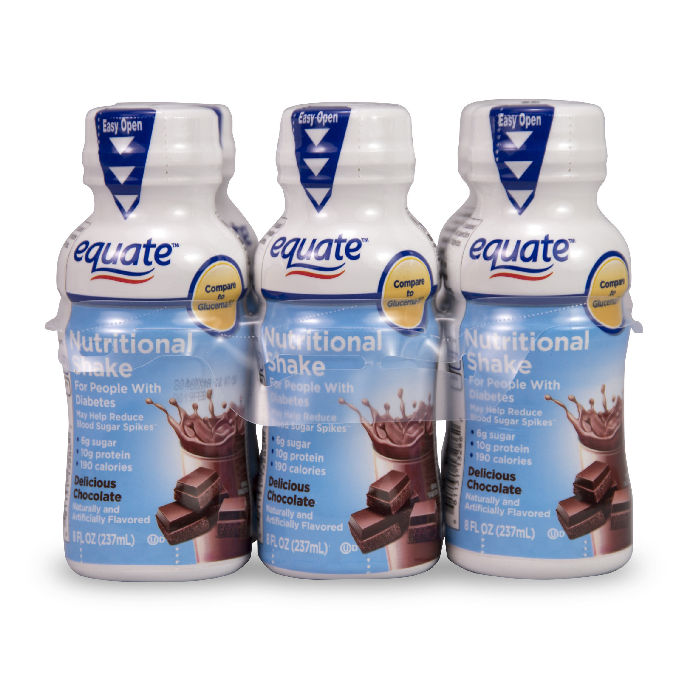 Equate Delicious Diabetic Chocolate Nutritional Shake, 8 Fl Oz, 6 Ct