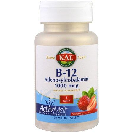 KAL  B-12 Adenosylcobalamin  Strawberry  1000 mcg  90 Micro Tablets 1000 Mcg 90 Sublingual Tablets
