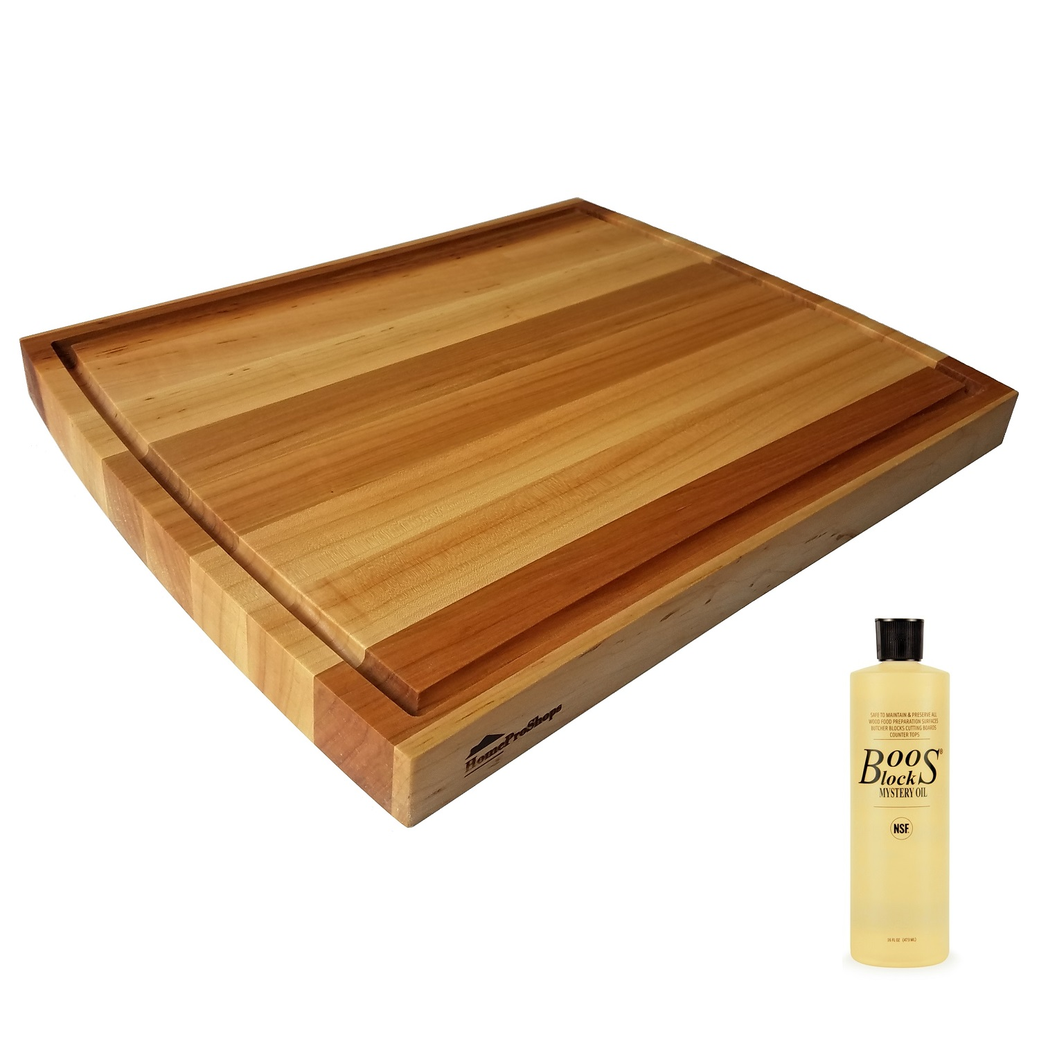 "HomeProShops 1-1/2"" x 15"" x 19"" Solid Maple Wood Butcher Block Cutting Board w Curved Ends and Juice Groove Channel 1 Side plus (1) 16 oz Bottle John Boos MYSB Mystery Oil Included - Reversible"