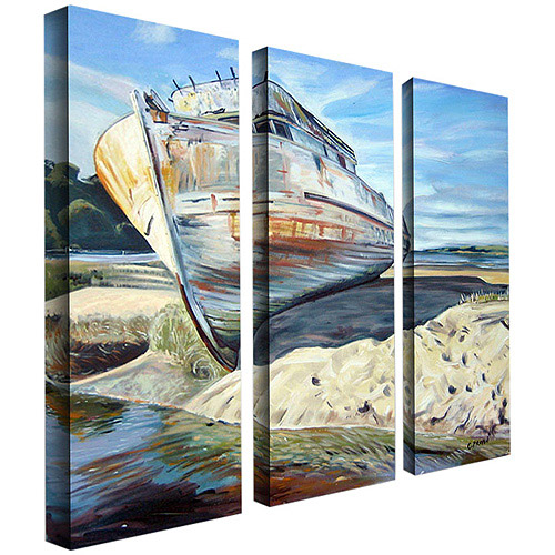 "Trademark Art ""Inverness Boat"" Canvas Art by Colleen Proppe 3-Panel Set"