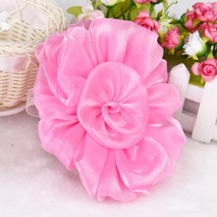 Mosunx 1PC Rose Flower Window Curtain Tieback Buckle Clamp Hook Fastener pink