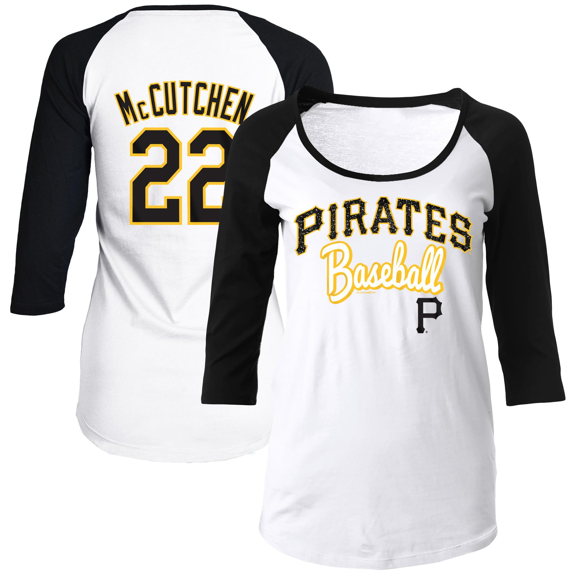 Andrew McCutchen Pittsburgh Pirates 5th & Ocean by New Era Women's Glitter 3/4-Sleeve Raglan T-Shirt - White/Black