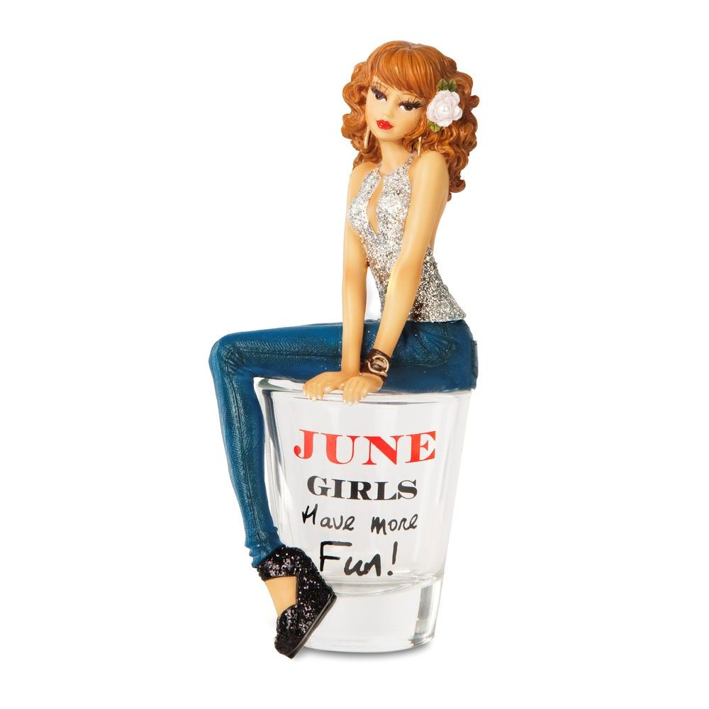 Hiccup by H2Z 73714 June Girls Have More Fun! Shot Glass with Figurine