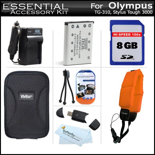 8GB Accessories Kit For Olympus Tough TG_320, TG_310, 300...