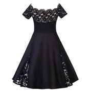 Plus Size Ladies 50s 60s Vinatge Style Swing Dress Short Sleeve Off Shoulder Cocktail Formal Party Evening Ball Gown