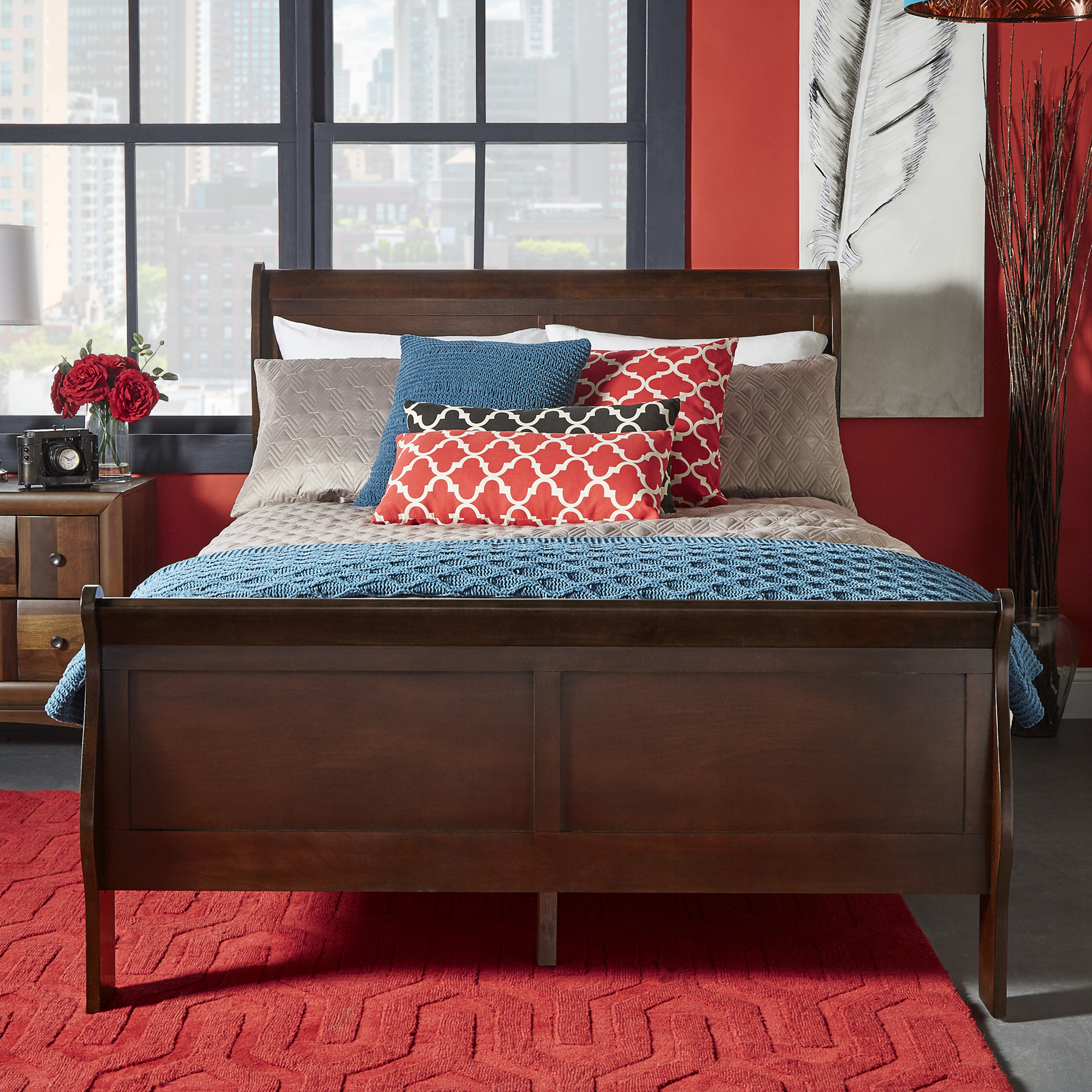 Weston Home Cherry Wood Finish Sleigh Bed Frame with High Footboard, Multiple Sizes by Weston Home