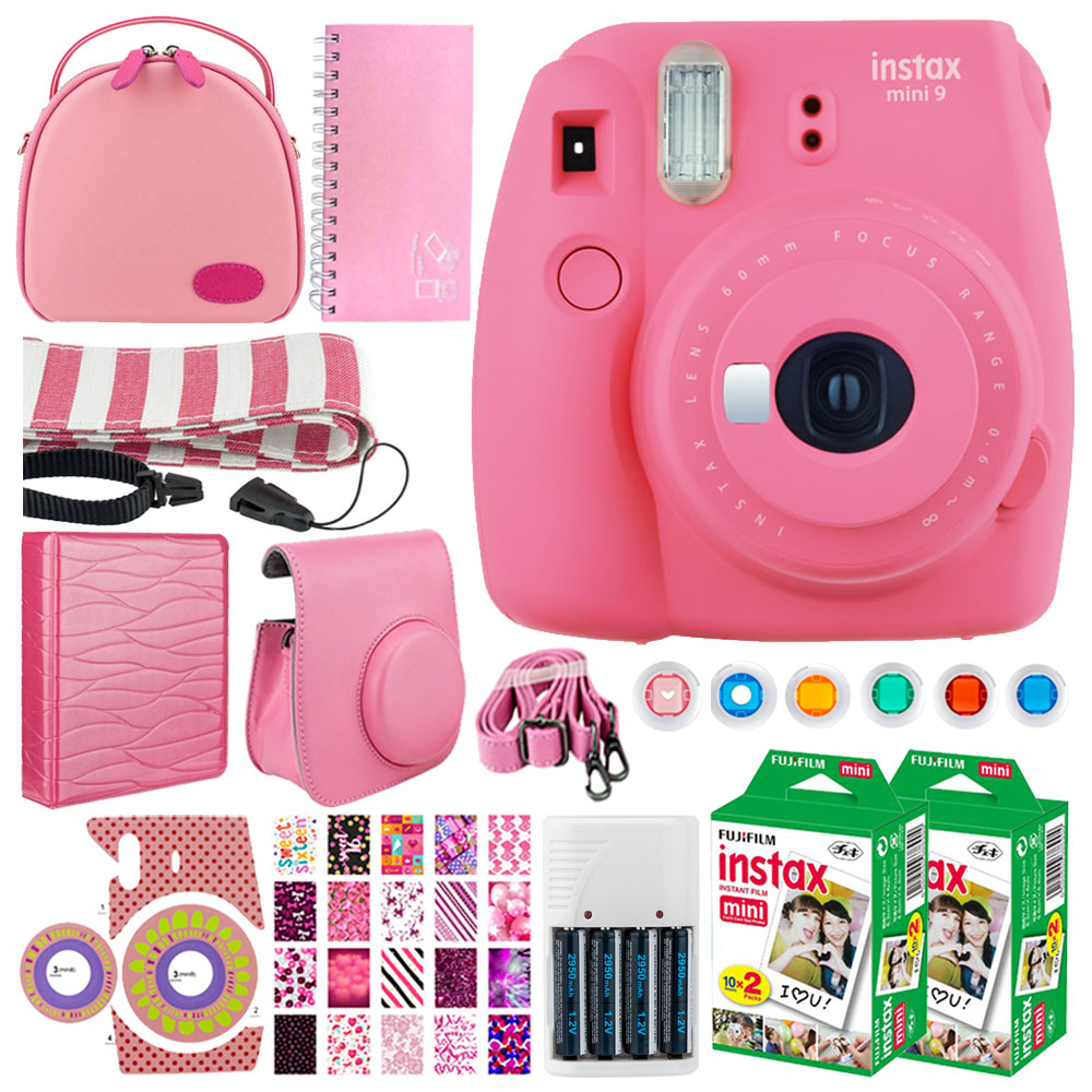 FujiFilm instax mini 9 Instant Film Camera (Flamingo Pink) + FujiFilm Instax Mini Twin Pack Instant (40 Shots) + Case +... by Fujifilm