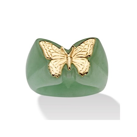 Jade Floral Band Ring - Genuine Green Jade 14k Yellow Gold Butterfly Ring