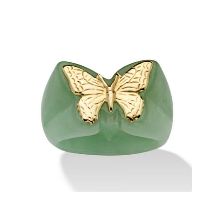 Genuine Green Jade 14k Yellow Gold Butterfly Ring - Rings That Light Up