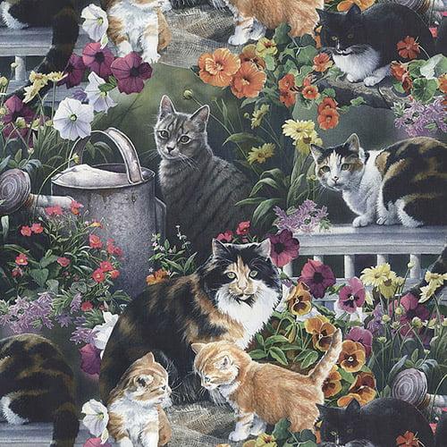 """Creative Cuts Cotton 44"""" wide, 2 yard cut fabric - Cat Print"""