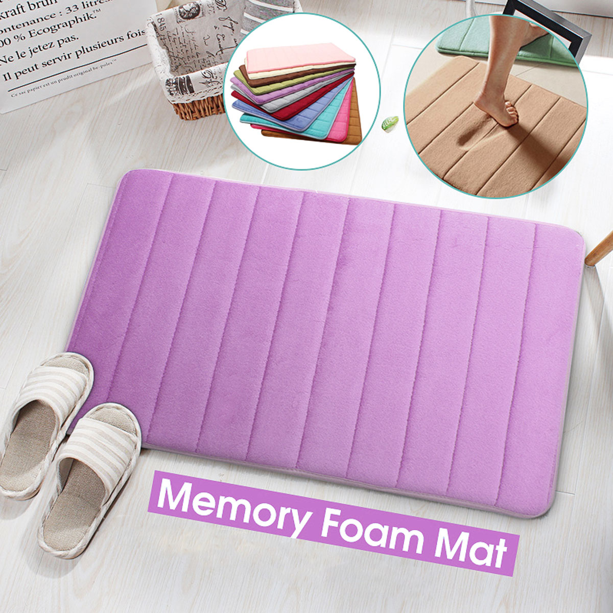 """20""""x30"""" Absorbent Memory Foam Mat Slip-resistant Pad Bathroom Shower Bath Mats Bedroom Kitchen Doormat Carpet"""