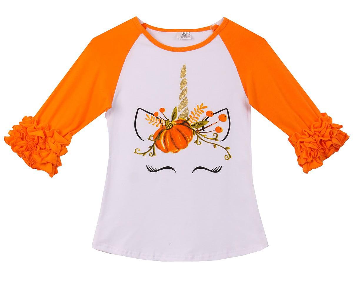 Toddler Babys Kids Boys Girl Ruffle Pumpkin Tops T-Shirt Tee Halloween Clothes