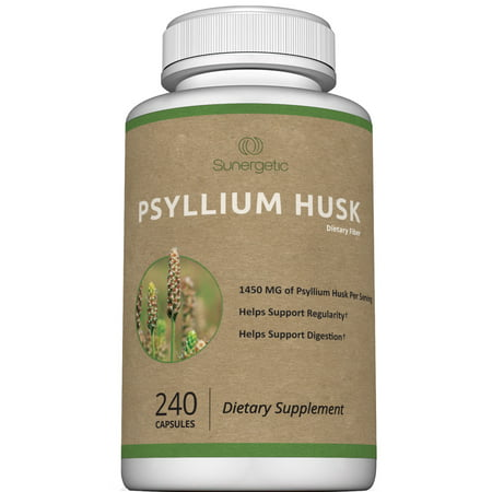 Premium Psyllium Husk Capsules - 725mg of Psyllium Husk per Capsule - Powerful Psyllium Husk Fiber Supplement Helps Support Digestion & Regularity - Easy to Swallow Psyllium Husk - 240 Capsules