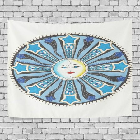 POPCreation Sun Moon And Stars Home Decoration Wall Tapestry 60x51 inches